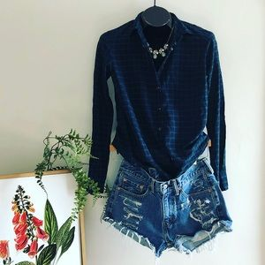 J.Crew navy & forest green plaid button up size 4